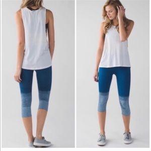 Lulu seamless street ombré blue crop leggings